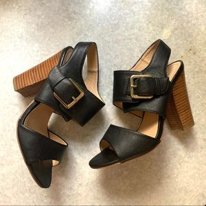 H&M Black Heel Sandals with Buckles Size 7